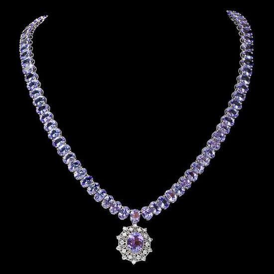 14k Gold 73ct Tanzanite 0.80ct Diamond Necklace