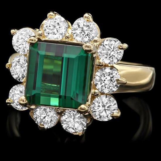 14k Gold 4ct Tourmaline 1.70ct Diamond Ring