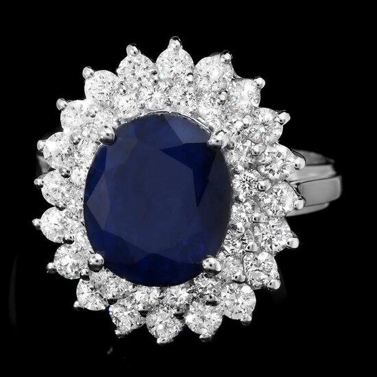 14k Gold 4.00ct Sapphire 1.70ct Diamond Ring