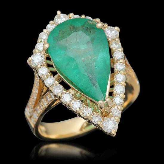 14K Gold 3.82 Emerald 1.05 Diamond Ring