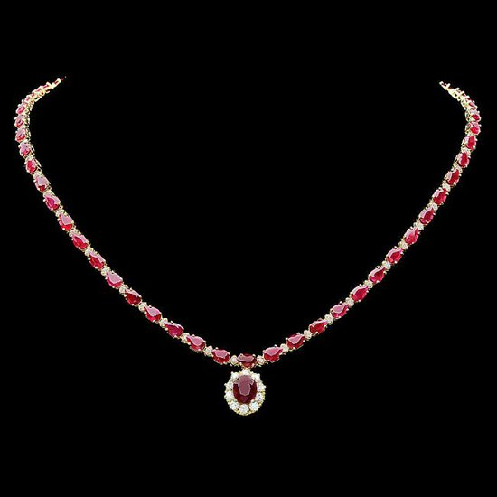 14k Yellow Gold 27ct Ruby 2.50ct Diamond Necklace