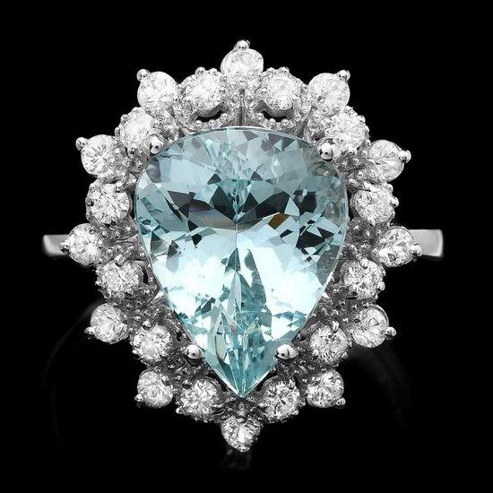 14k Gold 4.00ct Aquamarine 0.80ct Diamond Ring