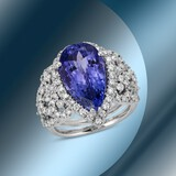 14K Gold 6.74cts Tanzanite & 1.67cts Diamond Ring
