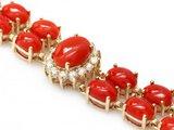 14k Gold 23.5ct Coral 1.50ct Diamond Bracelet