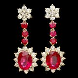 14k Yellow Gold 8ct Ruby 2.50ct Diamond Earrings