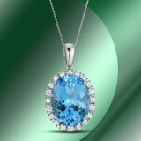 14K Gold 20.80cts Blue Topaz & 1.42cts Diamond Pendant
