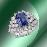 14K Gold 3.65cts Tanzanite & 3.26cts Diamond Ring