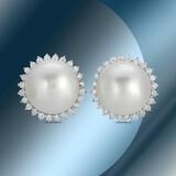 14K Gold 15mm South Sea Pearl & 1.21cts Diamond Earrings
