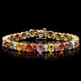 14k Gold 23ct Sapphire 1.50ct Diamond Bracelet