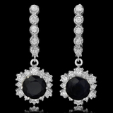 14K Gold 5.01ct Sapphire 1.90ct Diamond Earrings