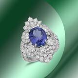 14K Gold 4.48cts Tanzanite 0.82cts Sapphire & 4.48cts Diamond Ring