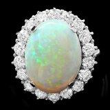 14k White Gold 9.00ct Opal 2.50ct Diamond Ring