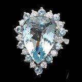 14k Gold 12ct Aquamarine 0.95ct Diamond Ring