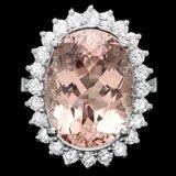 14k Gold 12.00ct Morganite 1.00ct Diamond Ring