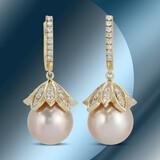 14K Gold 14mm South Sea Pearl & 2.35cts Diamond Earrings