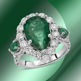 14K Gold 4.01cts Emerald & 1.85cts Diamond Ring
