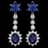 14k Gold 4.5ct Sapphire 1.40ct Diamond Earrings