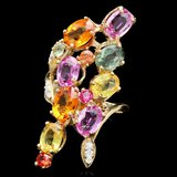 14k Gold 8.8ct Sapphire 0.20ct Diamond Ring