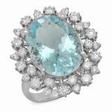 14K Gold 8.00ct Aquamarine 1.23ct Diamond Ring