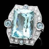 14k Gold 22ct Aquamarine 1.30ct Diamond Ring