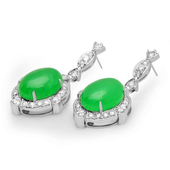 14K Gold 17.86ct Jadeite 1.92cts Diamond Earrings