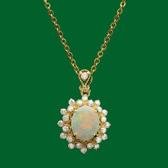 14k Gold 1.01ct Opal 0.70ct Diamond Pendant