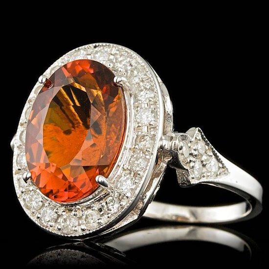 14k White Gold 5.00ct Citrine 1.65ct Diamond Ring