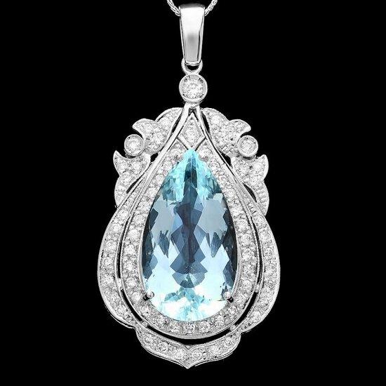 14k Gold 18ct Aquamarine 1.8ct Diamond Pendant