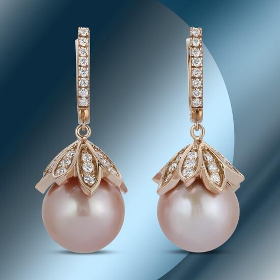 14K Gold 15mm South Sea Pearl & 2.35cts Diamond Earrings