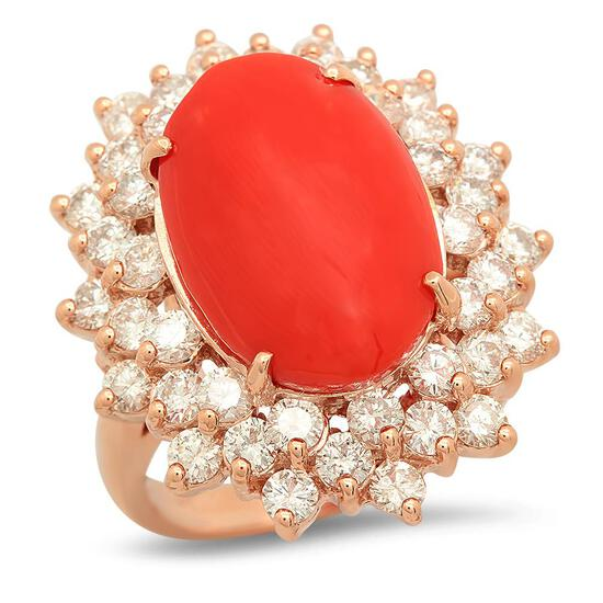 14K Gold 6.39ct Coral 2.41cts Diamond Ring