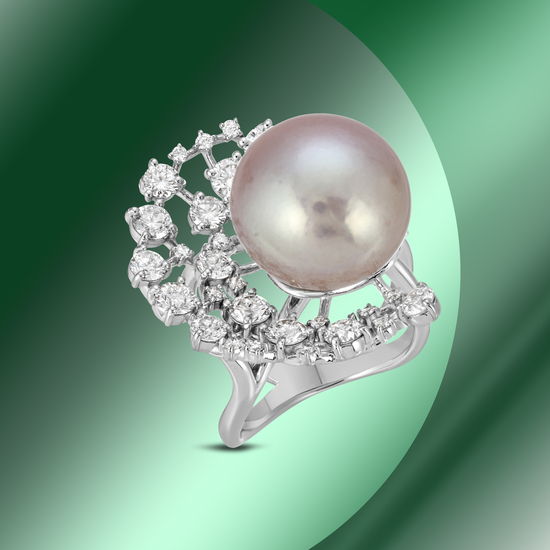 14K Gold 15mm South Sea Pearl & 2.35cts Diamond Ring