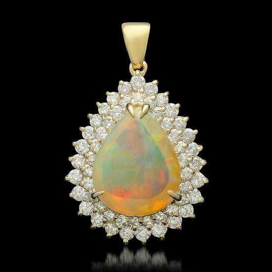 14K Gold 6.64ct Opal 1.95ct Diamond Pendant