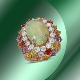 14K Gold 6.88cts Opal, 7.67cts Sapphire & 1.64cts Diamond Ring
