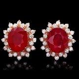 14k Rose 10.00ct Ruby 1.40ct Diamond Earrings