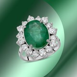14K Gold 6.11cts Emerald & 1.94cts Diamond Ring