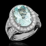 14k Gold 6.60ct Aquamarine 1.71ct Diamond Ring