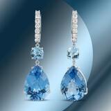 14K Gold 49.51cts Blue Topaz & 1.47cts Diamond Earrings