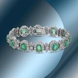 14K Gold 18.70cts Emerald & 12.01cts Diamond Bracelet