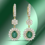 14K Gold 5.84cts Emerald & 7.02cts Diamond Earrings
