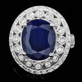 14k Gold 6.00ct Sapphire 1.30ct Diamond Ring