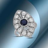 14K Gold 1.24cts Sapphire & 1.20cts Diamond Ring