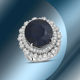 14K Gold 16.88cts Sapphire & 2.18cts Diamond Ring
