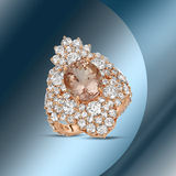 14K Gold 3.88cts Morganite, 0.85cts Sapphire & 4.51cts Diamond Ring