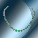 14K Gold 52.41cts Emerald & 1.80cts Diamond Necklace