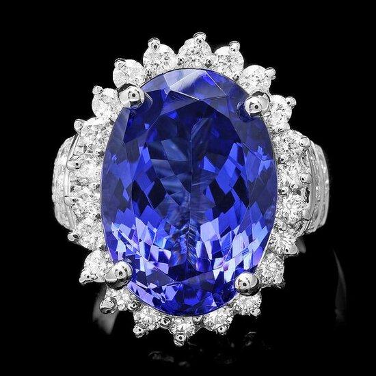 18k Gold 14.00ct Tanzanite 1.50ct Diamond Ring