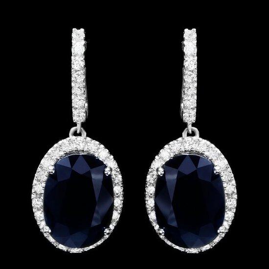 14k Gold 14ct Sapphire 1.50ct Diamond Earrings