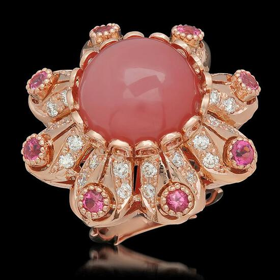 14K Gold 15.51ct Rose Quartz, 1.25ct Pink Sapphire 1.42ct Diamond Ring