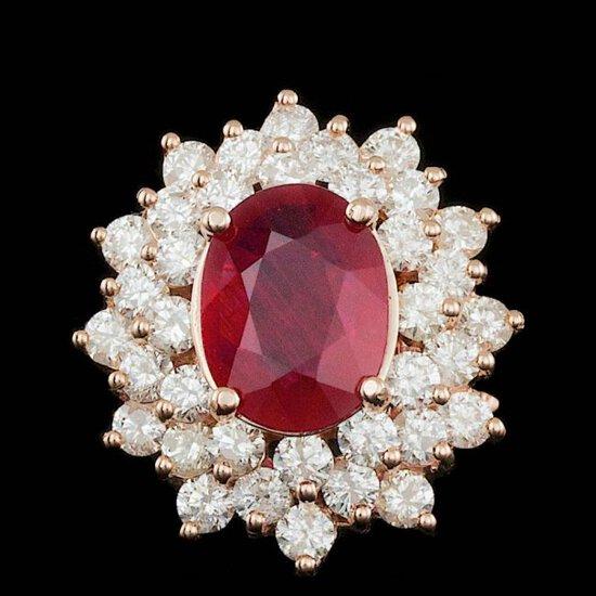 14k Rose Gold 3.50ct Ruby 2.45ct Diamond Ring