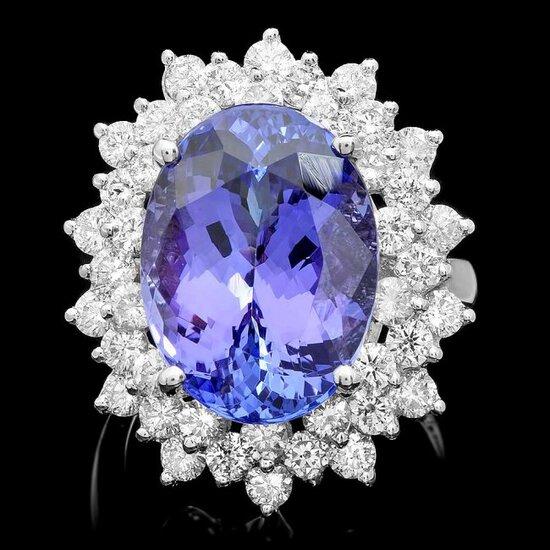 14k Gold 12.50ct Tanzanite 2.50ct Diamond Ring