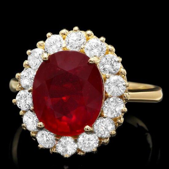 14k Yellow Gold 4.70ct Ruby 1.20ct Diamond Ring